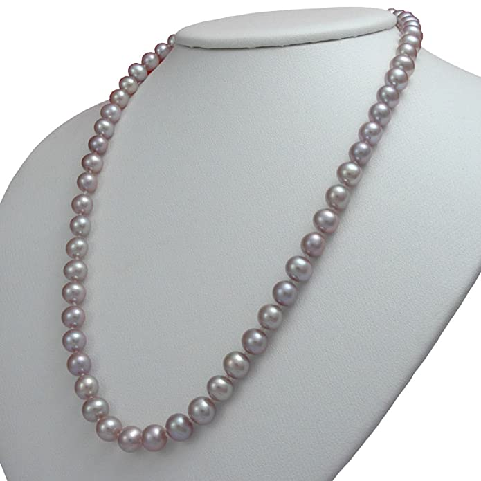Orien Jewelry Lavender Freshwater Cultured Pearl Necklaces 6-8mm AA Cultured Pearl Pendant Necklace for Women M-OJY-FW2A-07-N-LD-W