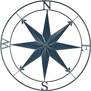 Zeckos Aegean Blue Indoor Outdoor Metal Compass Rose Wall Sculpture 39.25 Inch Diameter