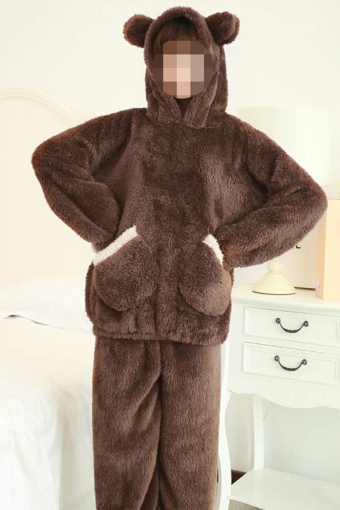 Brown Lingyuansale pajamas Plush Cartoon Hooded, Winter Lambskin Female Cute Comfortable Padded Set Soft House Pajamas For Women