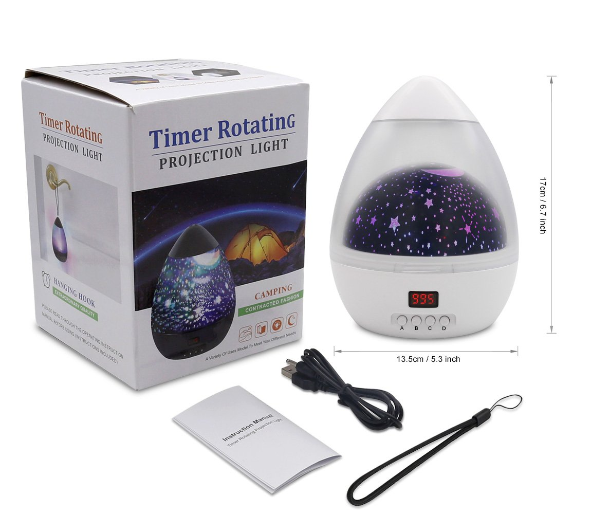 Star Sky Night Lamp,ANTEQI Baby Lights 360 Degree Romantic Room Rotating Cosmos Star Projector with LED Timer Auto-Shut Off for Kid Bedroom,Christmas Gift (White) by ANTEQI (Image #7)