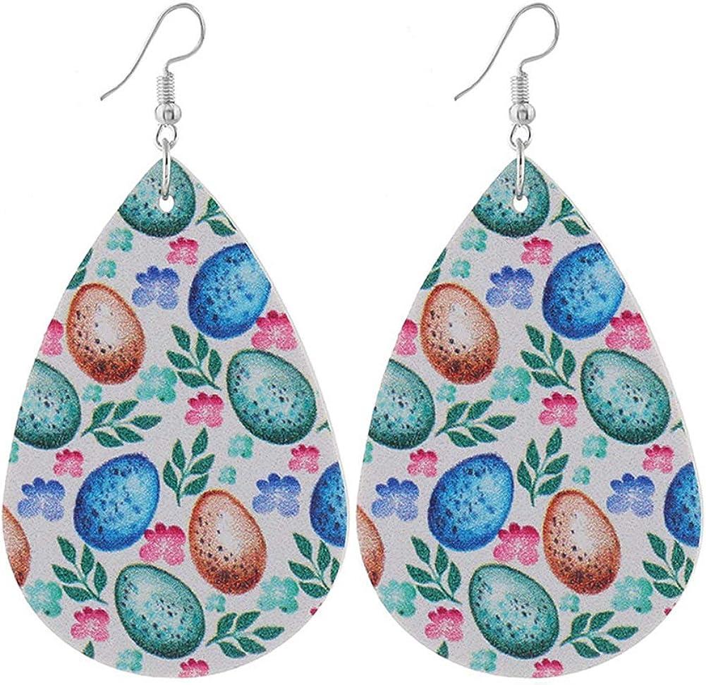 Easter Eggs /& Bunnies Faux Leather Teardrop Earrings