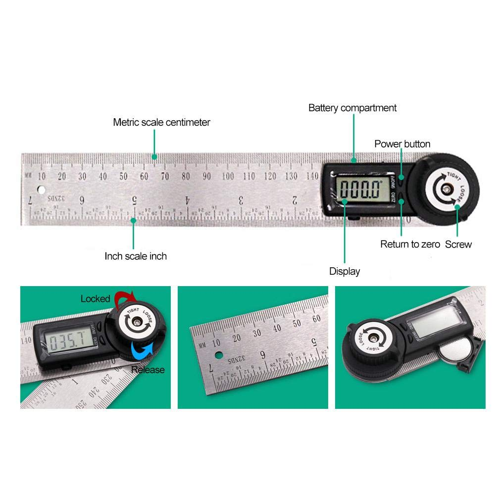Metal Protractor Ruler,Teepao 360 Protractor,Digital Angle Ruler LCD Goniometer Angle Gauge 200mm / 7inch Stainless Steel Ruler with Zeroing/Locking Function by Teepao (Image #4)