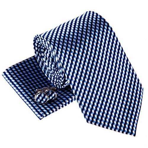 Wavy Zig Zag Stripe Pattern Woven Men's Tie Necktie w/ Pocket Square & Cufflinks Gift Set