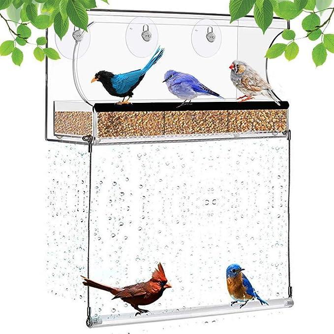 GYZD Comedero para pájaros para Todas Las Aves Silvestres, pinzones, cardenales y pájaros Azules. Ventosa Fuerte y Bandeja para Semillas, comedero acrílico para pájaros en el Exterior