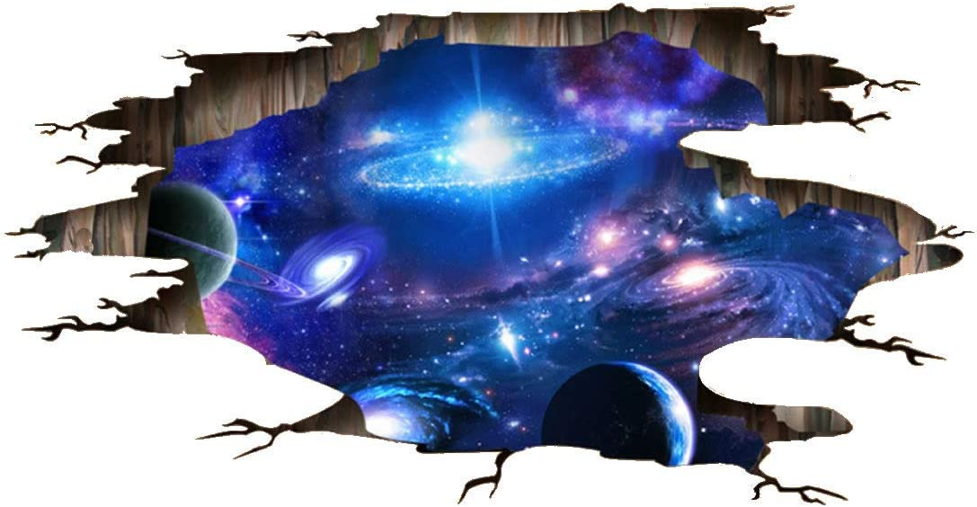 3D Space Blue Galaxy Wall Floor Stickers- Universe Scene with Planets Stars Starry Sky- Removable Wall Mural Decals for Kids Bedroom Ceiling Living Room (Galaxy)
