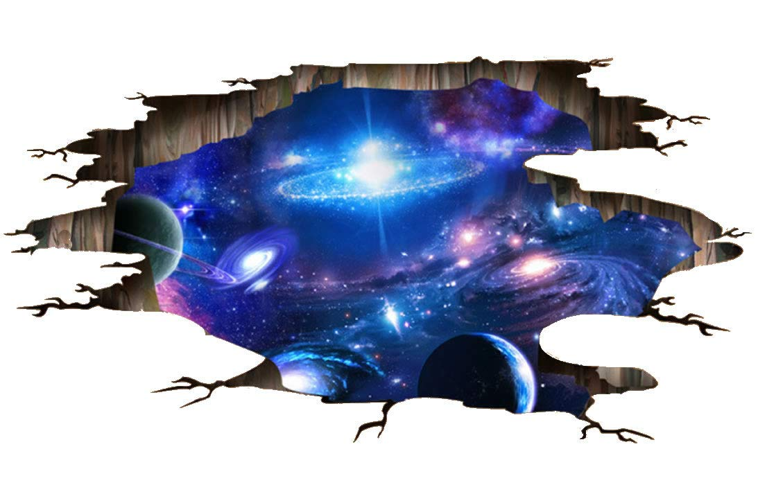 Quanhaigou Blue Purple Galaxy Wall Decals, Removable Sticker,The Art Magic 3D Milky Way Dreamscape Home Decor