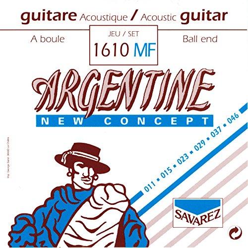 Savarez 1610MF Argentine Acoustic Jazz Guitar Strings, High Tension Ball ()