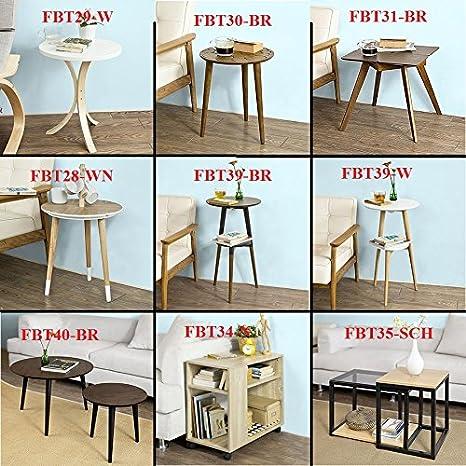 SoBuy/® FBT29-W,Tavolo Legno Consolle Tavolino basso da divano ⌀ 44.5 cm IT