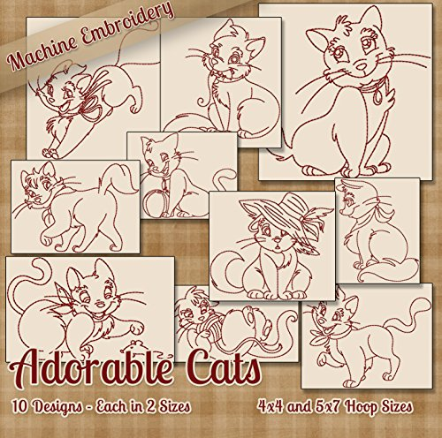 Adorable Cats Redwork Embroidery Machine Designs on CD - 10 Cute Outline Style Patterns - 2 Sizes Each - PES JEF EXP XXX VIP HUS DST