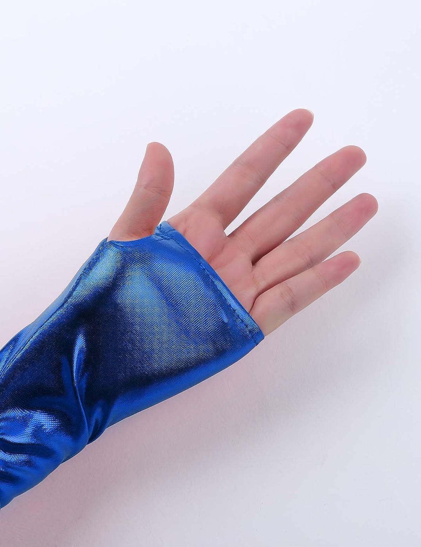 CHICTRY Kids Boys Girls Shiny Metallic Turtleneck Jumpsuit Zipper Long Sleeve Shorty Dance Leotard Unitard with Thumb Hole