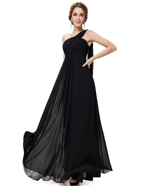 Ever-Pretty Vestidos Largos de Noche de Gasa de un Hombro de Las Mujeres Vestidos