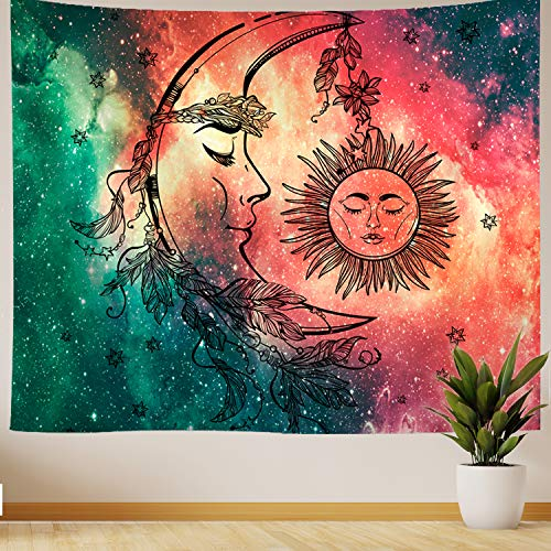 "Nidoul Psychedelic Wall Tapestry|Boho Mandala Moon Tapestry Wall Hanging|Hippie Sun Forest Tapestry|Wall Art Decoration for Bedroom Living Room Dorm, 59"" X 51"""