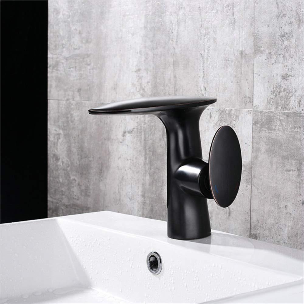 HXYL Badezimmer-Becken-Wasserfallhähne, Wannenmischer-Hahn, Schwarze Farbe-Wasserfallmischängen Heißes und kaltes Wasser, kupferner kupferner kupferner einzelner Griff a1800a