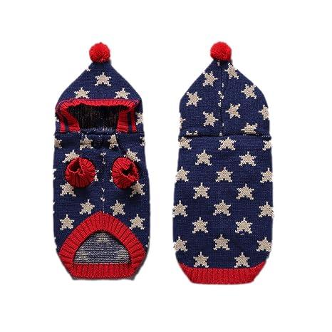 2 Patrones de estrellas punto suéter de perro con sombrero, prendas de punto de fiesta