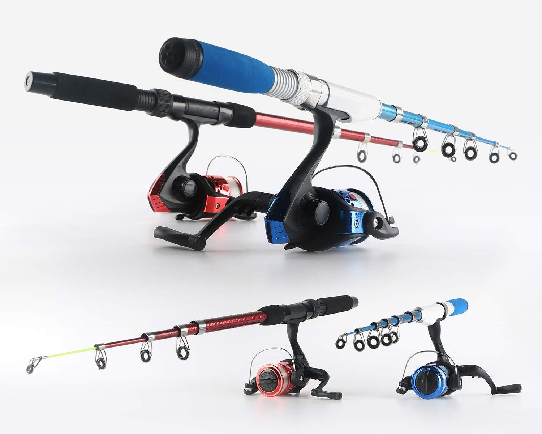Fishing Rod and Reel Combos Telescopic Fishing Pole Spinning Reels Full Kit, 1.3M 1.6M Fishing Rods 2PCS Spinning Reels Lures Hooks Fishing Bag, Travel Fishing Kit for Kids Family Beginners