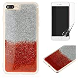 For iphone 7 Plus/8 Plus Glitter Case with Screen Protector,OYIME Luxury Shiny Design Ultra Thin Slim Fit Soft Silicone Rubber Bumper Scratch Resistant Protective Back Cover - Red