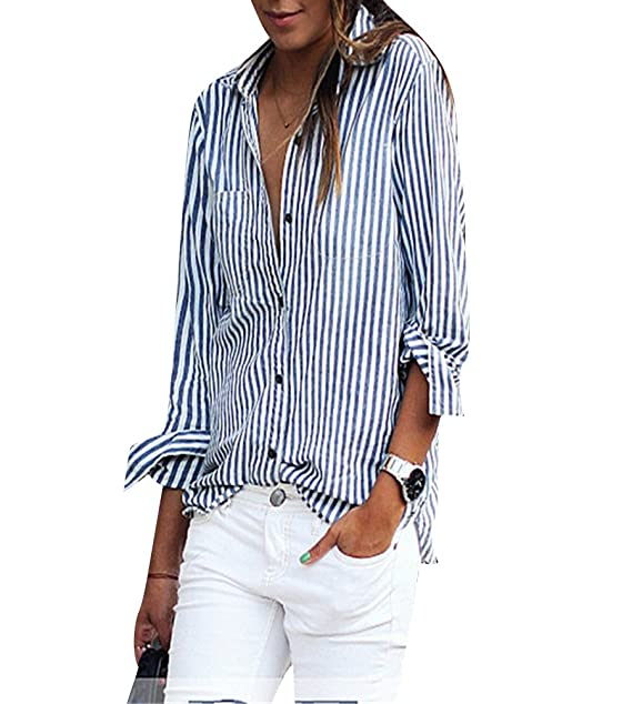 Mujer Blusa Camisa - Manga Larga - Rayas - Cuello en V Profundo - Gasa -