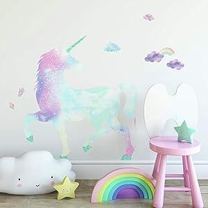 RoomMates Galaxy Unicorn Peel And Stick Giant Wall Decal With Glitter, Pink, Blue, Purple, Aqua , 1 Sheet At 36.5 Inches X 17.25 Inches And 1 Sheet At 9 Inches X 36.5 Inches - RMK3845GM