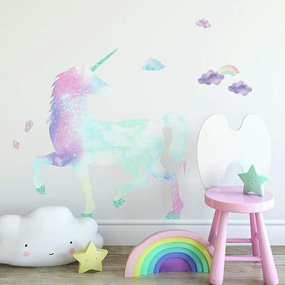 Roommates Galaxy Unicorn Peel And Stick Giant Wall Decal With Glitter Pink Blue Purple Aqua 1 Sheet At 36 5 Inches X 17 25 Inches And 1 Sheet At 9 Inches X 36 5 Inches Rmk3845gm Amazon Com