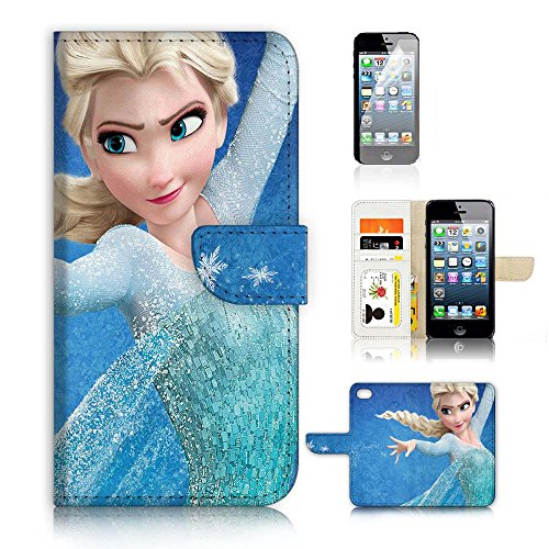 ( For iPhone 5 5S / iPhone SE ) Flip Wallet Case Cover and Screen Protector Bundle A9088 Elsa Frozen