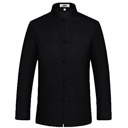 b60e250c4c ZooBoo Mens Chinese Tang Suit Kung Fu Uniform Cotton Jacket Martial Art  (Black