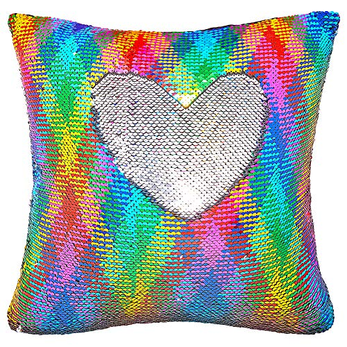Basume Sequin Pillow with Insert, 16x16 in Magic Reversible Sequins Cushion for Home Décor (Rainbow and Silver)