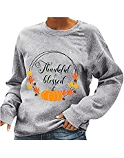 Merry Christmas Sweatshirts for Women Casual Crewneck Long Sleeve Fall Tops Happy Thanksgiving Letter Printed Pullover