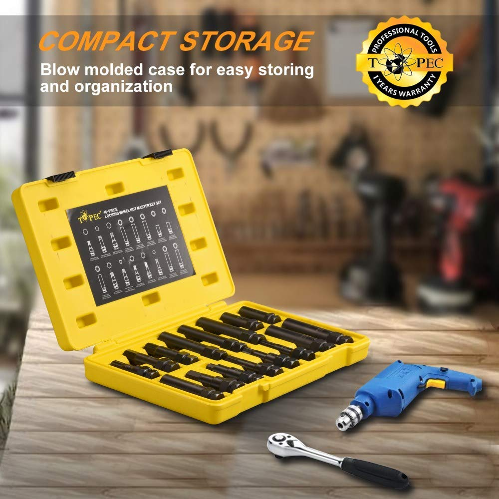 16 SAE Metric Piece Locking Lug Master Key Set Wheel Lock Removal Kit for The Purpose of Easily Removing Locking Lug Nuts on Aftermarket Wheels