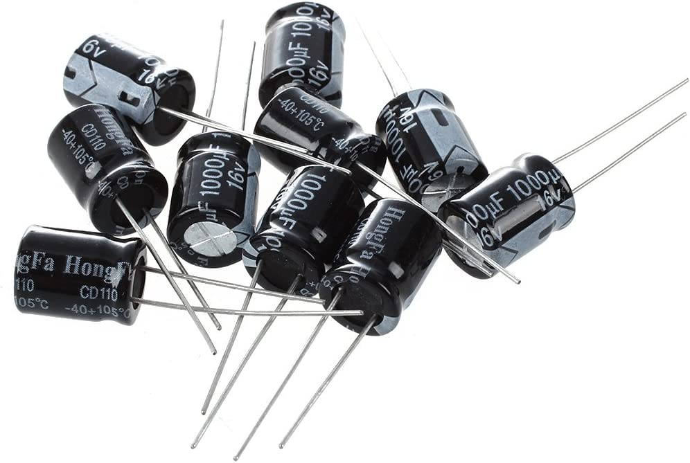 10 Pcs 35V 1000uF 105C Radial Lead Electrolytic Capacitor 13mm x 20mm