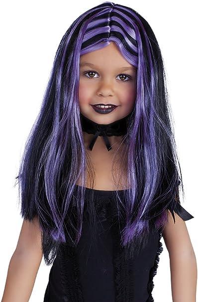 Haunted House - Peluca de brujita con mechas, color negro y lila ...