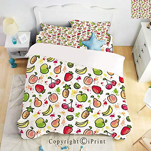 (Homenon Deep Pocket Fitted Sheet,Top Sheet,2 Pillow Cases,Watercolor Pear Cherries Kiwi Apple Brushstroke Splashes Cute Kids Kitchen Decorative,Peach Lime Green Red,King Size,Hide Zipper)