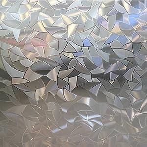 OstepDecor Multi-size No-Glue 3D Static Decorative Privacy Window Films, 24-by-78.7-Inch