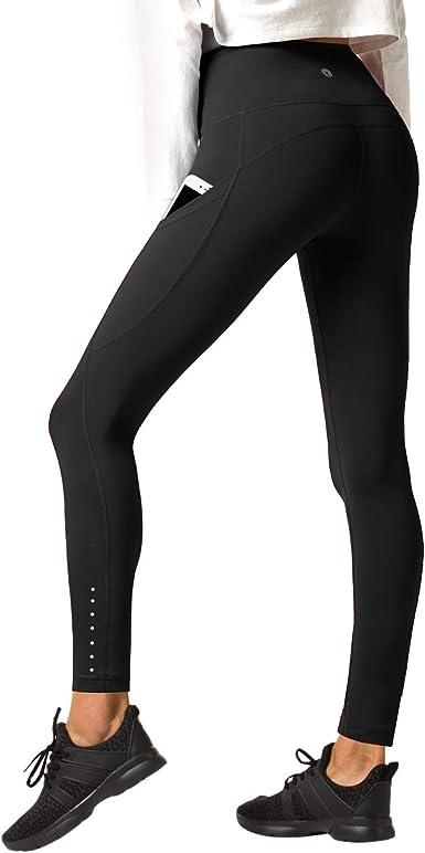 TALLA M. LAPASA Pantalón Deportivo de Mujer Cintura Alta con Bolsillo Ergonómico Lateral. (Malla para Running, Yoga y Ejercicio.). L32/L33