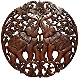Lucky Elephants Love Sign Wood Carved Wall Art Round Plaque. Asian Home Decor. 24'' (Brown)