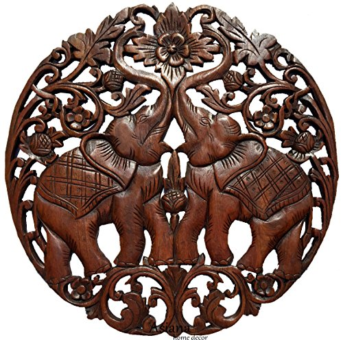 Lucky Elephants Love Sign Wood Carved Wall Art Round Plaque. Asian Home Decor. 24