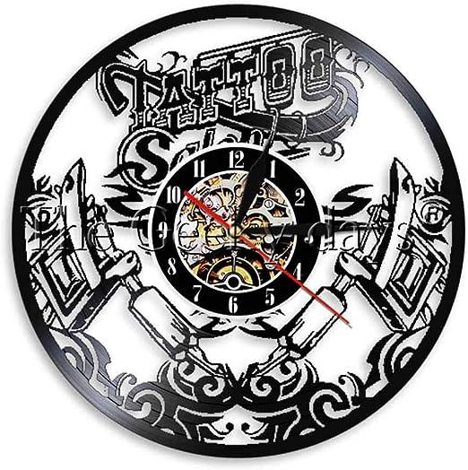 Liushenmeng Reloj de Pared de Disco de Vinilo Salón de Tatuajes ...