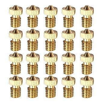 NACTECH 10 Pcs Mk8 Nozzle 0.2mm 0.5mm 0.3mm 0.4mm 0.6mm 3D Printer Nozzles with 5Pcs Nozzle Cleaning Needle for 3D Printer Makerbot