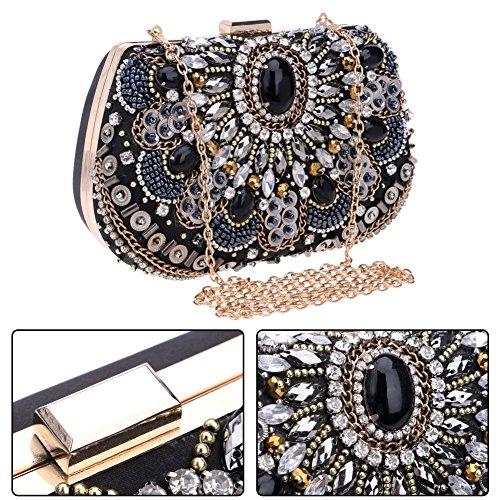 Mujer Bolso Embrague Boda Noche Black Cadena Carteras Fiesta Mano Diamantes Bolsas Negro Z67Wf