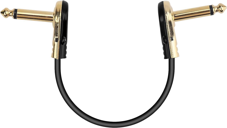 SNUNGPHIR Cables Jack para Pedales Guitarra, Cable de Conexión de Efectos de Instrumentos, 6,35 mm Cabezal Acodado a la Derecha, Cable Conector de Pedales de Guitarra - 30cm