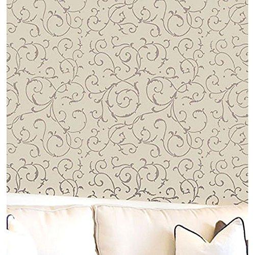 Wall Stencil Lily Scroll - Reusable stencils for easy DIY Wall decor by Cutting Edge Stencils