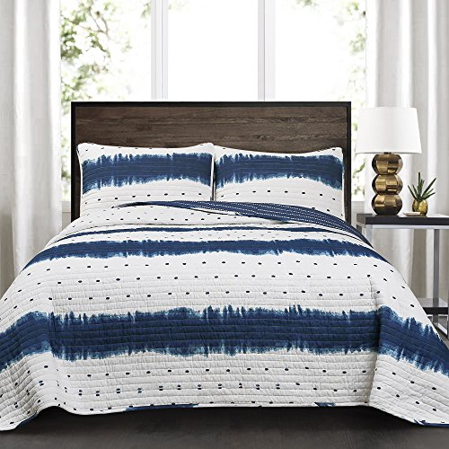 3pc Full/Queen Jane Shibori Quilt Set Navy - Lush Decor