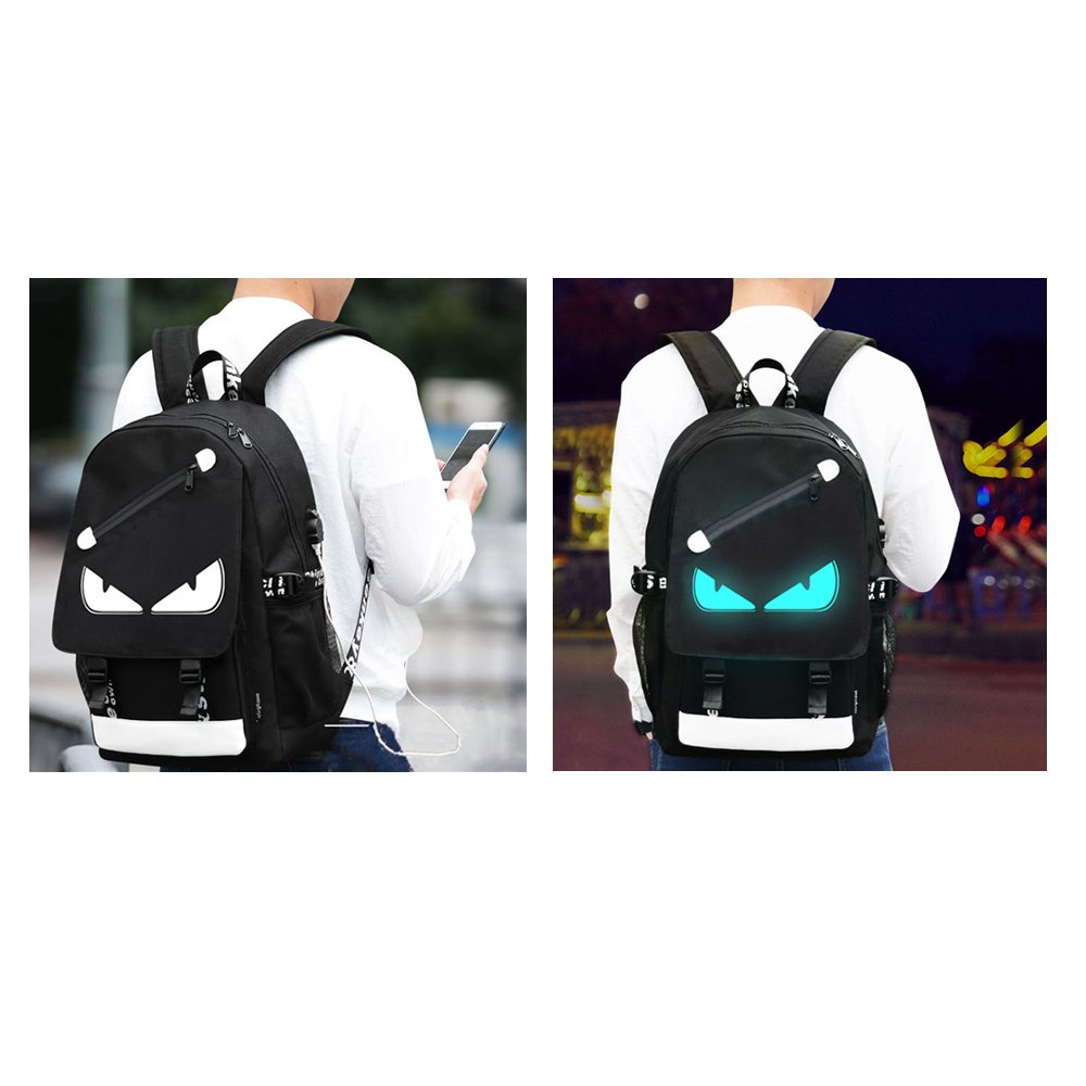 Anime Backpack Luminous Backpack Men School Bags Boys Girls Cartoon Bookbag Noctilucent USB Chargeing port&anti-theft Daybag Women (Evil eye) by VAQM (Image #3)