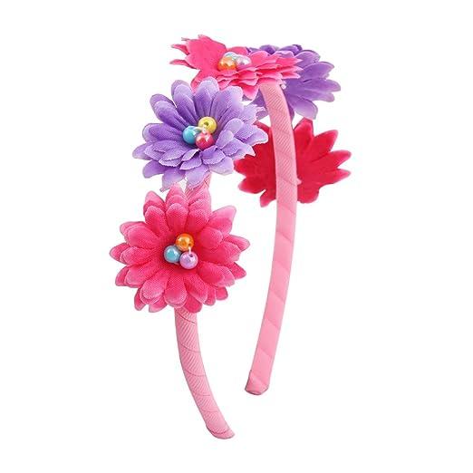 ac4afcbbcb89 Candygirl Belle Lot Serre-Tête Floral Bandeau cheveux pour Fille Femme  Plage Mariage Fête (3pcs Multicolore)  Amazon.fr  Beauté et Parfum