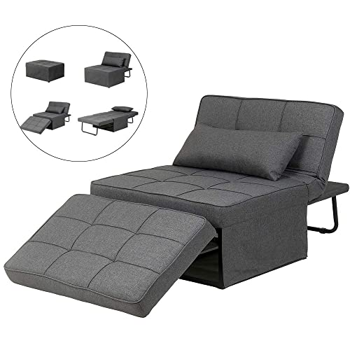 Diophros Folding Ottoman Sleeper Guest Bed, 4 in 1 Multi-Function Adjustable Ottoman Bench Guest Sofa Chair Sofa Bed Dark Grey