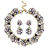 Jane Stone Fashion Gold Collar Necklaces Bling Rhinestone Jewelry Set for Women Girls(Fn1389-Black)