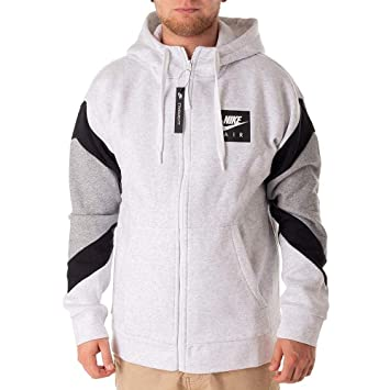 109fb075d Nike Men's Sportswear Air Hooded Full Zip Top, Birch Black/Dark Grey  Heather,