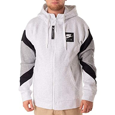 9b6f7d325581 NIKE Mens Air Fleece Full Zip Hoodie Birch Heather Black Grey Heather  928629-