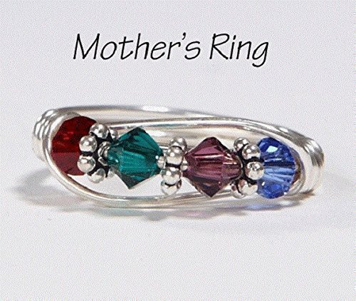 4 Stone Mothers Birthstone Ring: Personalized Sterling Silver Moms Multistone Family Ring. Four Swarovski Crystals. Christmas, Mothers Day, Anniversary, Birthday, New Baby
