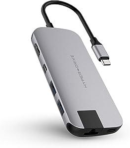 HyperDrive USB Type C Hub Dongle, 8in1 USB-C Multiport Adapter for MacBook, Ultrabook, PC, C-USB Device, Aluminum USB-C Hub w Gigabit Ethernet, PD Charging, Micro n SD Reader, HDMI, Mini DP, 2xUSB3.1