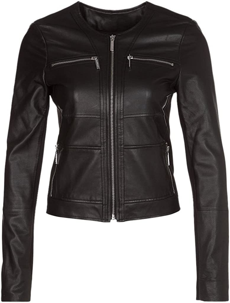 New Women Leather Jacket Soft Lambskin Motorcycle Bomber Party Jacket LTW158